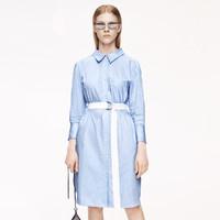 MO&Co. 摩安珂 MBO2DRSX06T01  女士条纹翻领绑带可拆卸腰带连衣裙