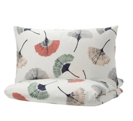 IKEA 宜家 TOVSIPPA 托西帕 被套和2个枕套 白色, 花卉图案 200x230/50x80 厘米