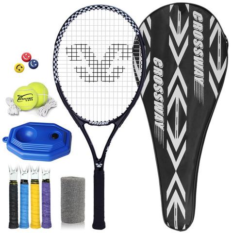CROSSWAY 克洛斯威 网球拍初学者专业男大学生女青少年儿童街潮网球单人训练器套装 正黑色