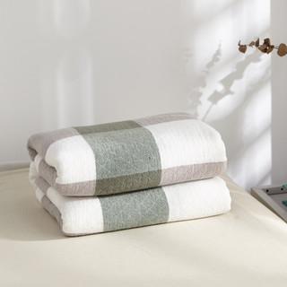 辰枫 家纺 毛巾被全棉毛巾毯单人双人盖毯纯棉夏季空调毯办公室午睡毯子 绿色大格 150*200cm