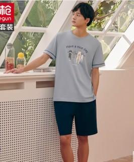 THREEGUN 三枪 新疆棉睡衣男卡通夏季全棉夏季短袖短裤纯棉薄款家居服套装