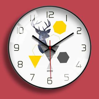 汉仪墨迹 鹿现代简约钟表轻奢时钟挂钟客厅卧室创意时尚北欧静音招财挂表