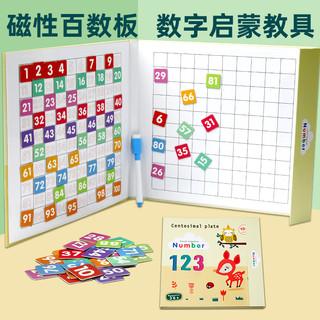 DALA 达拉 磁力百数板蒙氏数学教具幼儿园启蒙儿童益智数字玩具1到100加减法