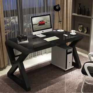 LISM 电脑桌台式家用简约现代经济型书桌钢化玻璃学习办公桌游戏电竞桌