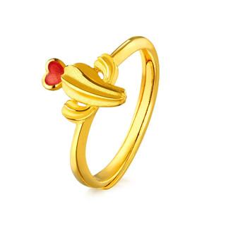 六福珠宝 zing仙人掌黄金戒指活口戒女计价单枚