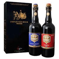 有券的上:CHIMAY 智美 蓝/红啤酒 精致礼盒装 750ml*2瓶