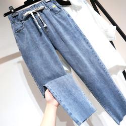 夏季薄款大码弹力牛仔裤女九分裤宽松200斤胖妹妹裤子显瘦哈伦裤