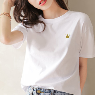 Lee Cooper 2021夏季新款女式T恤白色简约可爱风纯棉柔软圆领短袖T恤女