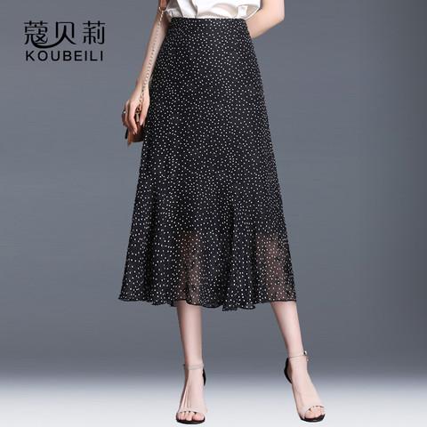 鱼尾裙包臀半身裙夏不规则波点雪纺碎花裙子设计感女小众中长款女