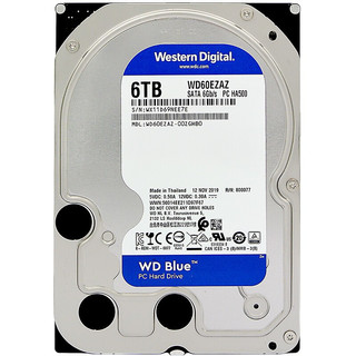 Western Digital 西部数据 蓝盘系列 3.5英寸 台式机硬盘 6TB(SMR、5400rpm、256MB)WD60EZAZ