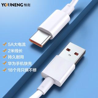 柚能 Type-c数据线5A 100w快充线华为小米手机电源线适用荣耀8/9/vivo/oppo/一加充电器线Mate20/P30/P40 2米