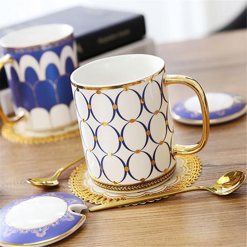 NOSIN 诺轩 英伦欧式陶瓷情侣马克杯水杯ins北欧下午茶轻奢杯子咖啡杯带盖勺