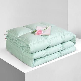 FUANNA 富安娜 家纺超柔羽绒被子 白鹅绒被芯冬天厚被褥盖被单双人被1.5米/1.8米床(203*229cm)绿
