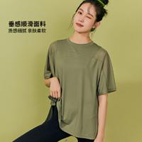 2021夏半袖瑜伽服女大码速干t恤宽松跑步罩衫运动短袖薄 灰石墨绿