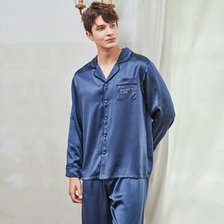 MEIBIAO 美标 重磅长袖100%桑蚕丝丝绸家居服情侣真丝睡衣套装男女春秋