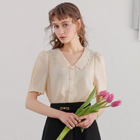 衣香丽影 91066111131  女款翻领珍珠扣刺绣衬衫