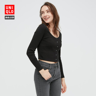 UNIQLO 优衣库 440747 女装棉质罗纹短开衫