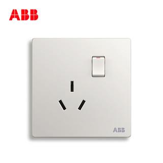 ABB 开关插座面板 轩致无框雅典白色空调16A一开三孔带开关AF228