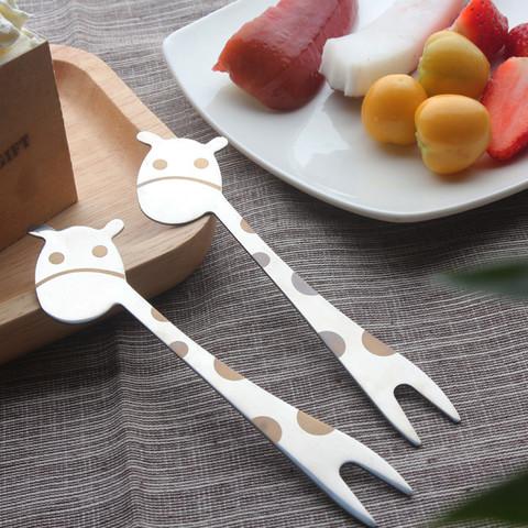 苏咔 5只装 304不锈钢创意水果叉可爱卡通小叉子家用欧式签点心叉