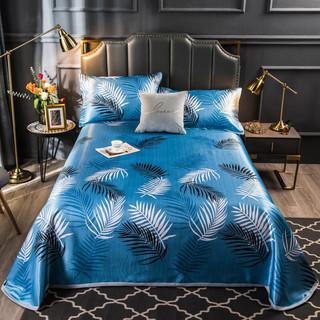 雲上舒 冰丝席三件套 床单式空调夏凉软席子 富贵叶-蓝 230cmx250cm