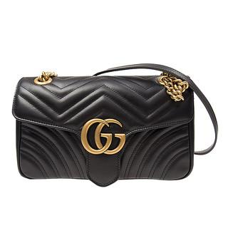 GUCCI 古驰 Gucci 古驰 Marmont系列双G黑色皮革女士单肩斜挎包 女