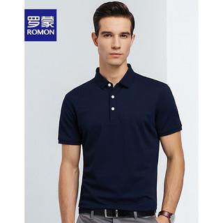 ROMON 罗蒙 男士2021夏季新款短袖T恤POLO衫  黑色