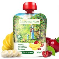 Grandpa's Farm 爷爷的农场 宝宝辅食水果泥西梅泥苹果香蕉泥混合口味90g×5袋