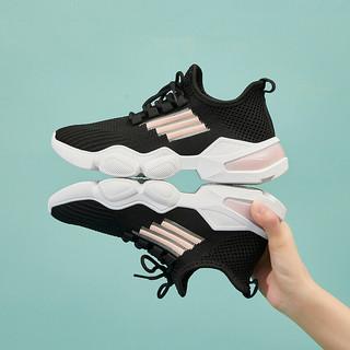 森马时尚 休闲鞋女夏运动小白鞋女透气时尚潮百搭网红慢跑鞋 黑色 37