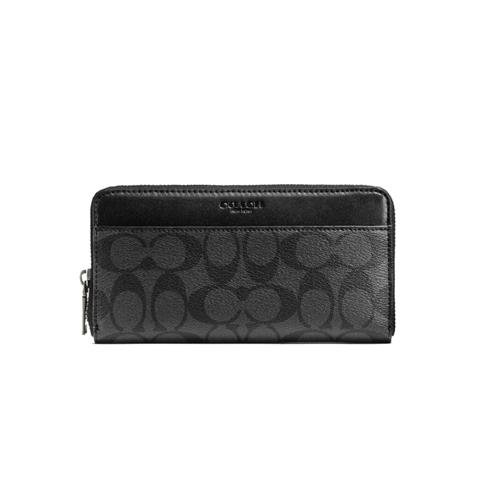COACH 蔻驰 商务休闲 印花配色相机包 男士黑灰色拉链长款钱包 手拿包