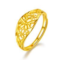 ZLF 周六福 0129-HJJZ005  足金戒指镂空时尚花卉黄金戒指