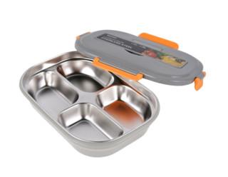 TAFUCO 泰福高 304不锈钢 保温饭盒 T5213--灰色-1200ml-四格餐盘送餐具