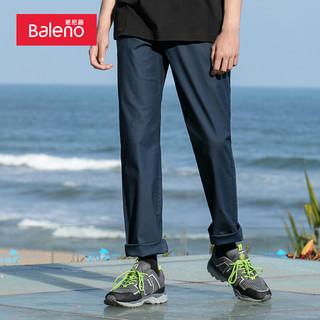 Baleno 班尼路 休闲裤男 轻便舒适修身直筒休闲时尚弹力黑色长裤 02B 中蓝 XXL