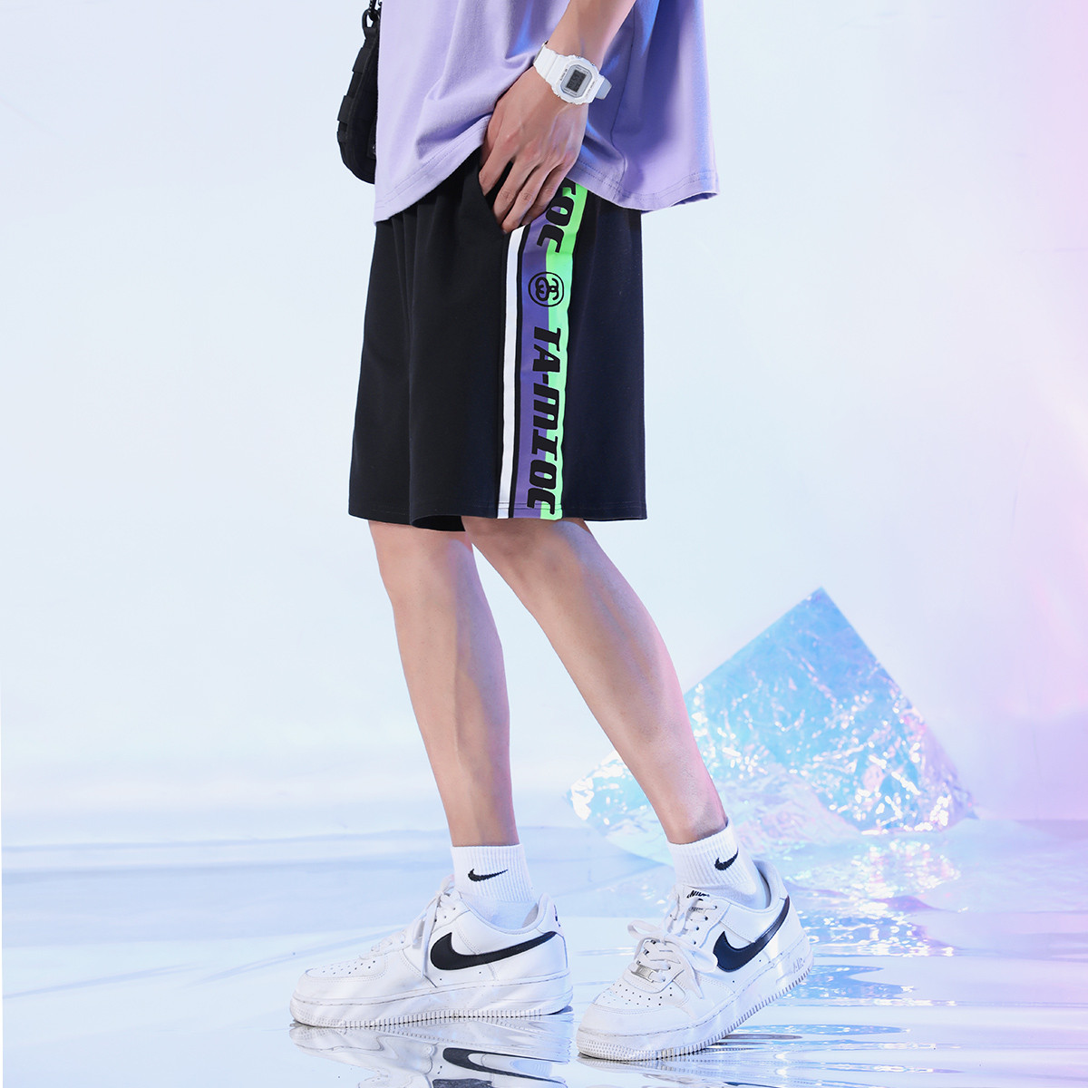 RAMPAGE RQ523301 情侣款荧光撞色印花针织五分短裤