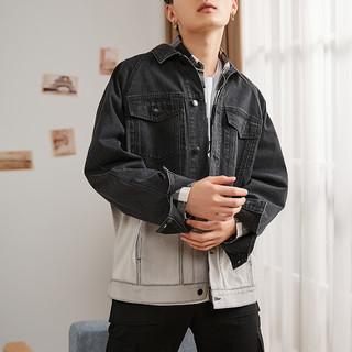 TONLION 唐狮 秋季新款渐变牛仔外套男黑色工装夹克韩版百搭帅气衣服潮