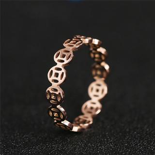 玫瑰金18K铜钱食指戒指女时尚个性韩版 网红钛钢 不掉色招财指环