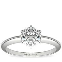 Blue Nile 经典六爪铂金单石钻戒(仅戒托)