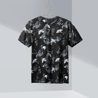 HLA 海澜之家 夏季男经典圆领满身花卉舒适短袖丝光棉T恤