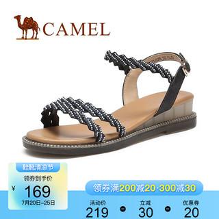 CAMEL 骆驼 女鞋2021夏季新款时尚凉鞋女动感潮流厚底休闲百搭凉鞋 黑色 35