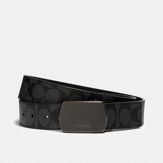 COACH 蔻驰 奢侈品 男士腰带黑灰色PVC配皮 91286 QBO3I