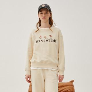 TEENIE WEENIE 维尼熊 白色新疆棉圆领卫衣女宽松短款上衣2021年新款潮