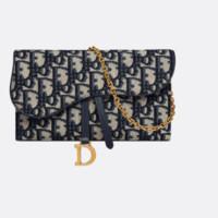 Dior/迪奥 马鞍钱包 蓝色提花面料 Oblique 印花 S5614CTZQ_M928