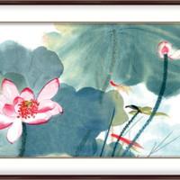 弘舍 张大千 植物花卉国画《嘉藕图》成品尺寸140x70cm 宣纸 雅致胡桃