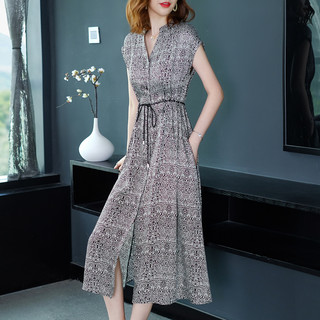 JMFIVE 时尚a字印花裙子女2021新款夏装欧美修身气质中长款雪纺连衣裙女
