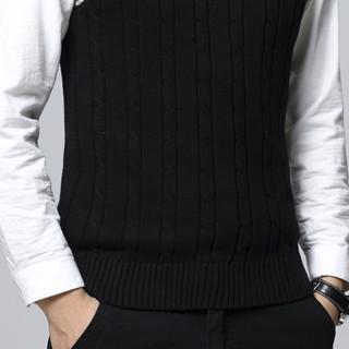 PLUS会员 : PLAYBOY 花花公子 男士针织马甲 HH-HLS917631 黑色 XL