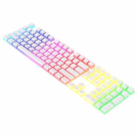 带带 布丁磨砂手感双皮奶PBT机械键盘双色透光键帽 白色