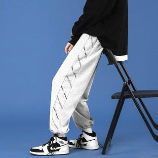 新款宽松男士休闲裤夏季简约舒适亲肤束脚直筒运动裤男卫裤长裤