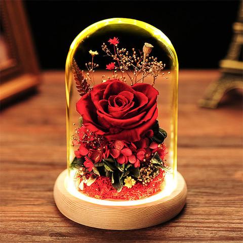 自生草 创意礼物玫瑰永生花玻璃罩礼盒(真花) 适合做生日礼物送女友/爱人