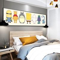 现代简约卧室装饰画 80×40cm 儿童房卡通床头挂画日漫人物横版沙发背景墙画