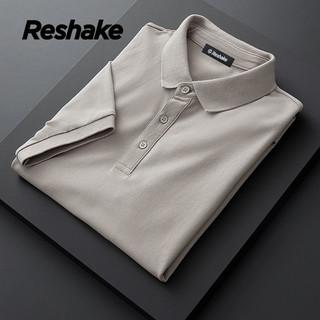 Reshake纯棉短袖t恤男polo衫翻领宽松商务休闲半袖衬衫男SYMDM101
