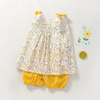 可米熊 女童套装洋气甜美宝宝背心短裤两件套儿童套装
